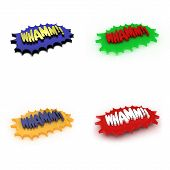 """3D Illustration of four comic style """"Whamm"""" expressions poster"""