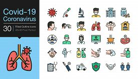 Covid-19 / Corona Virus Icons. Filled Outline Design. World Health Organization Who Introduced New O