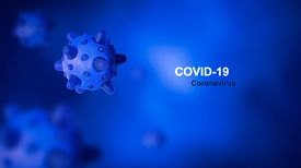 Covid-19 Coronavirus Concept, 3d Illustration. Covid Disease Theme On Blue Background. New Sars-cov-