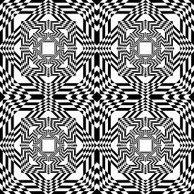 Abstract Arabesque Spider Like Illusion Perspective Design Black On Transparent Seamless Background