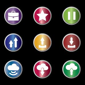 Icon Pack. Suitcase Icon, Star Icon, Pause Button Icon, Arrow Up Icon, Upload Icon, Download Icon, C