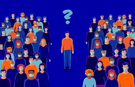 Man Person Alone In Isolation From Others With Question. Group Of People Wearing Protection Medical
