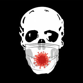 Skull With A Medical Mask On A Black Background. Coronavirus.