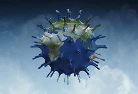Microscopic View Of A Infectious Virus. Virus Cell With World Map Texture..  3d Illustration Of Coro