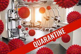 Empty And Closed Quarantine Gym, The Concept Of Fighting The Coronavirus Epidemic Covid 19