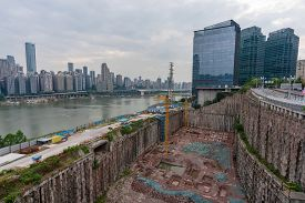 Chongqing, China - Sep 2, 2019: Huge Construction Site With Deep Excavation For Building Skyscrapers