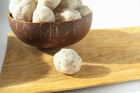 Homemade Coconut Energy Balls With Almond. Healthy Sugar Free Concept. Keto Diet Recipe.