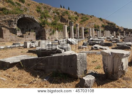 Ancient ruins of Upper Gymnasium in Pergamon, now Bergama, Turkey