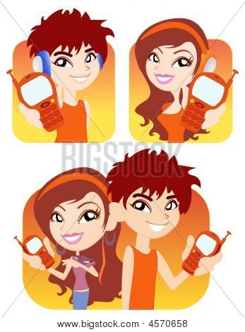 Vector Boy And Girl With Their Phone