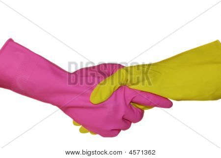 A Handshake Is In Sanitary Gloves