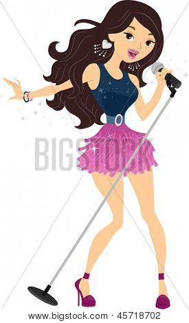 Illustration of Teenage Girl Popstar
