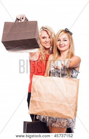 Happy Girls With Shopping Bags