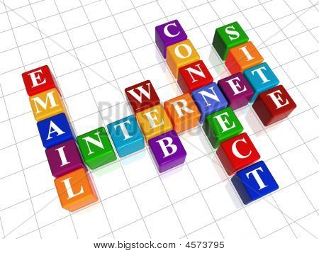 3d colour cubes crossword - internet; site; web; e-mail; connect poster