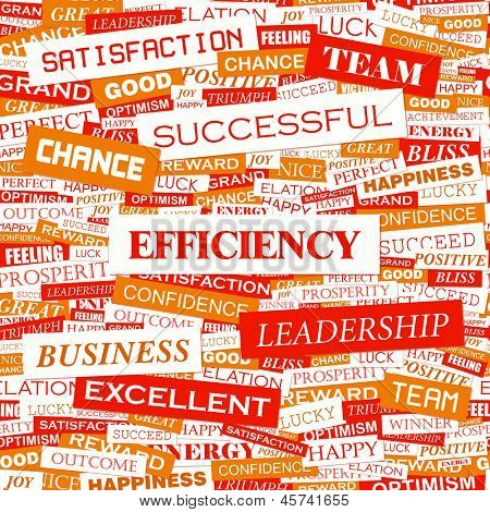 EFFICIENCY. Word cloud concept illustration.