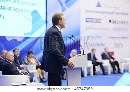 MOSCOW - NOV 14: First Vice Premier I.Shuvalov speaks into microphone at Forum Small Business - New Economy, dedicated to 10th anniversary of organization OPORA of RUSSIA, Nov 14, 2012 Moscow Russia.