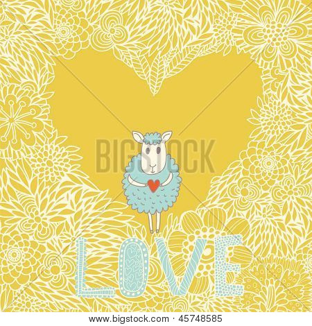 Cartoon romantic background. Funny cheep on heart made of flowers in vector