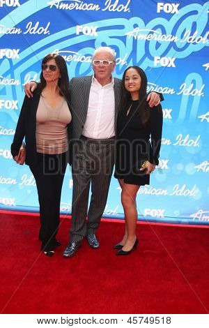 LOS ANGELES - MAY 16:  Stella Arroyave, Anthony Hopkins, Niece arrive at the American Idol Season 12 Finale at the Nokia Theater at LA Live on May 16, 2013 in Los Angeles, CA