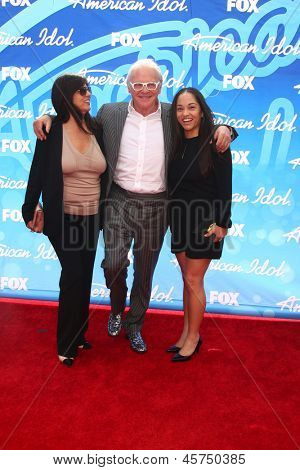 LOS ANGELES - MAY 16:  Stella Arroyave, Anthony Hopkins and Niece arrive at the American Idol Season 12 Finale at the Nokia Theater at LA Live on May 16, 2013 in Los Angeles, CA