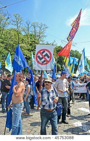 Kiev - May 18: Political Meeting Against Fascism On May 18, 2013 In Kiev, Ukraine.