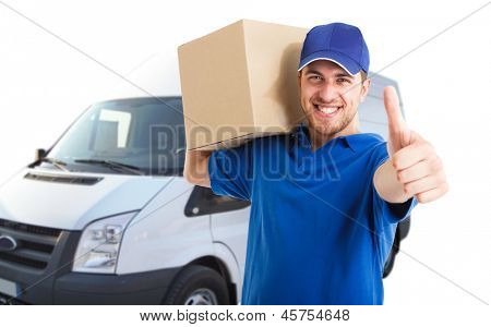 Portrait of an handsome happy deliverer