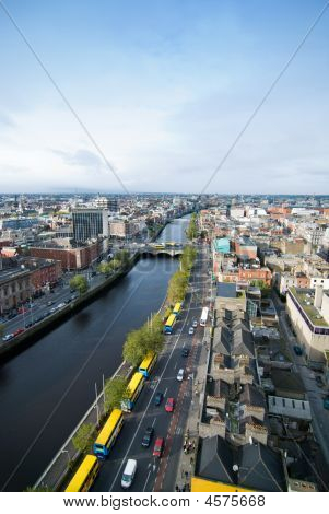 Dublin And River Liffey From Above