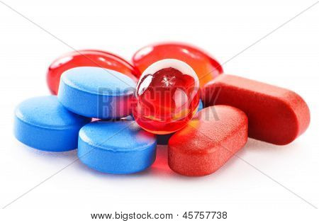 Composition With Drug Pills Isolated On White Background