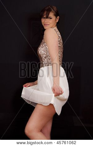 Happy Beautiful Young Woman Dancing