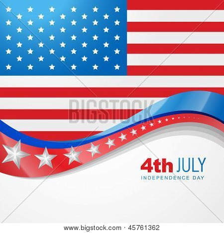 stylish american independence day design poster