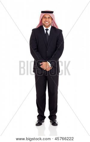 happy muslim man in black suit on white background