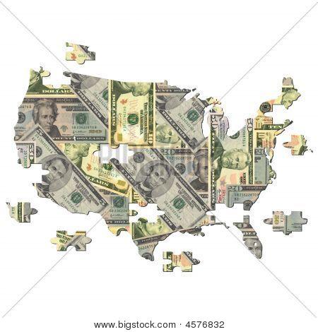 American Dollar Karte jigsaw