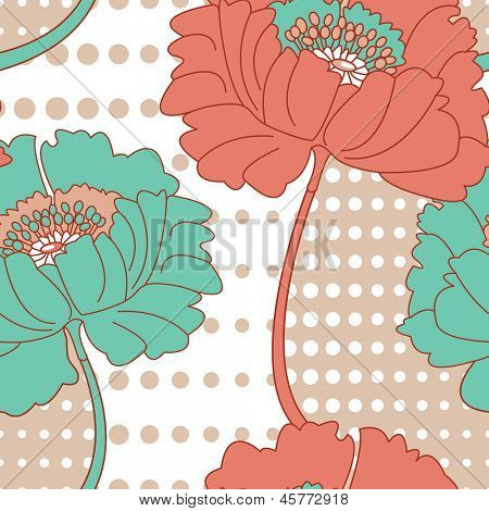 Retro Poppy Seamless Vector Pattern.  Would look stunning printed onto fabric.