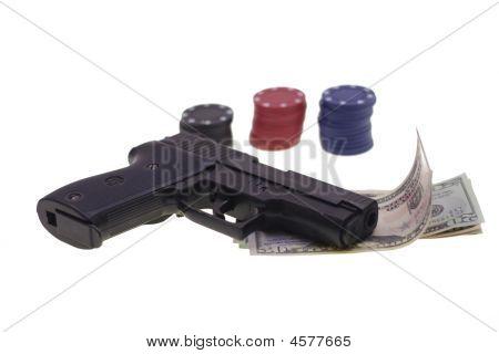 Gun, Chesspieces And Money