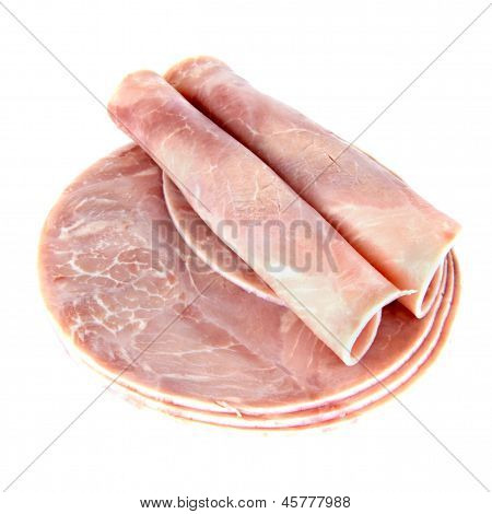 Slices Of Ham On White Background