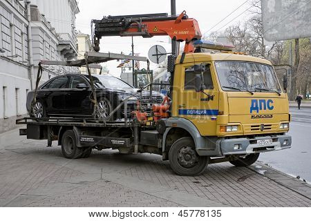 The Wrecker Removes Incorrectly Parked Car