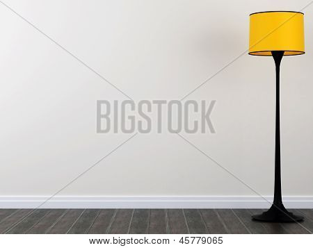 Bright yellow floor lamp against a white wall and a dark parquet poster