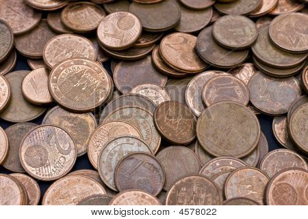 A Lot Of Cash Money; Varied Euro Coins