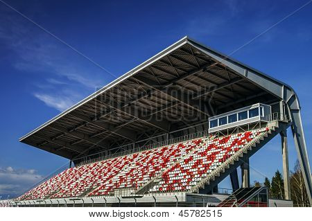 MOSCOW - April 24: Giant Tribune of Moscow Raceway track on April 24, 2013 in Moscow Russia