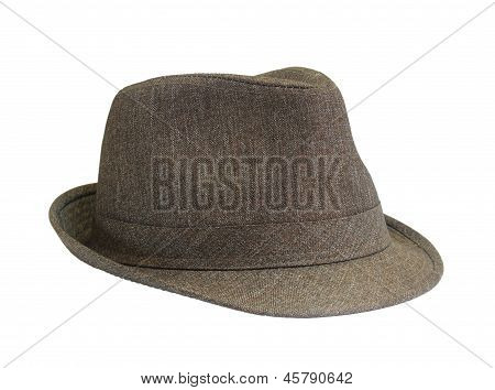 Brown Hat On The White Background