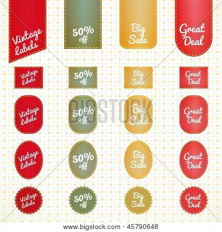Collection of vintage retro grunge sale labels