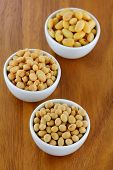 Bowls of Soya Meat (Vegetarian Meat), Soaked Soybeans, Dried Soybeans poster