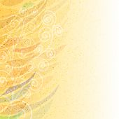 Abstract bright beige floral background with pattern at left side on stained paper poster