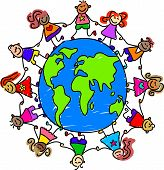 happy and diverse kids holding hands around the world - toddler art series poster