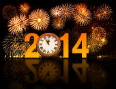 2014 year with fireworks and clock displaying 5 minutes before midnight poster