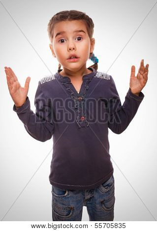 little baby girl surprised amazed excited helpless gesture isolated on white background gray poster