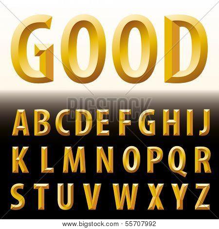 vector original golden alphabet