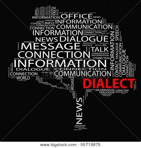 High resolution concept or conceptual white dialect tree word cloud on black background wordcloud
