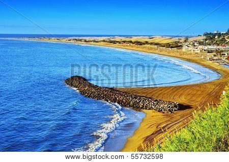 Playa del Ingles beach and Maspalomas Dunes, Gran Canaria, Canary Islands, Spain