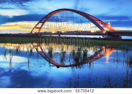 Color Red Bridge Sunset, Chuk Yuen, Taoyuan County, Taiwan