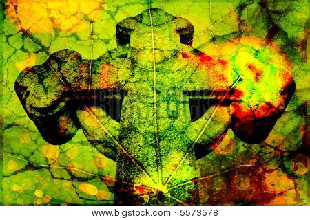 Texture Of A Cross On A Leaf