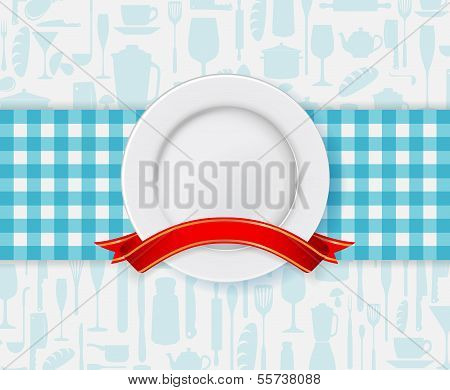 Restaurant menu design with plate and ribbon